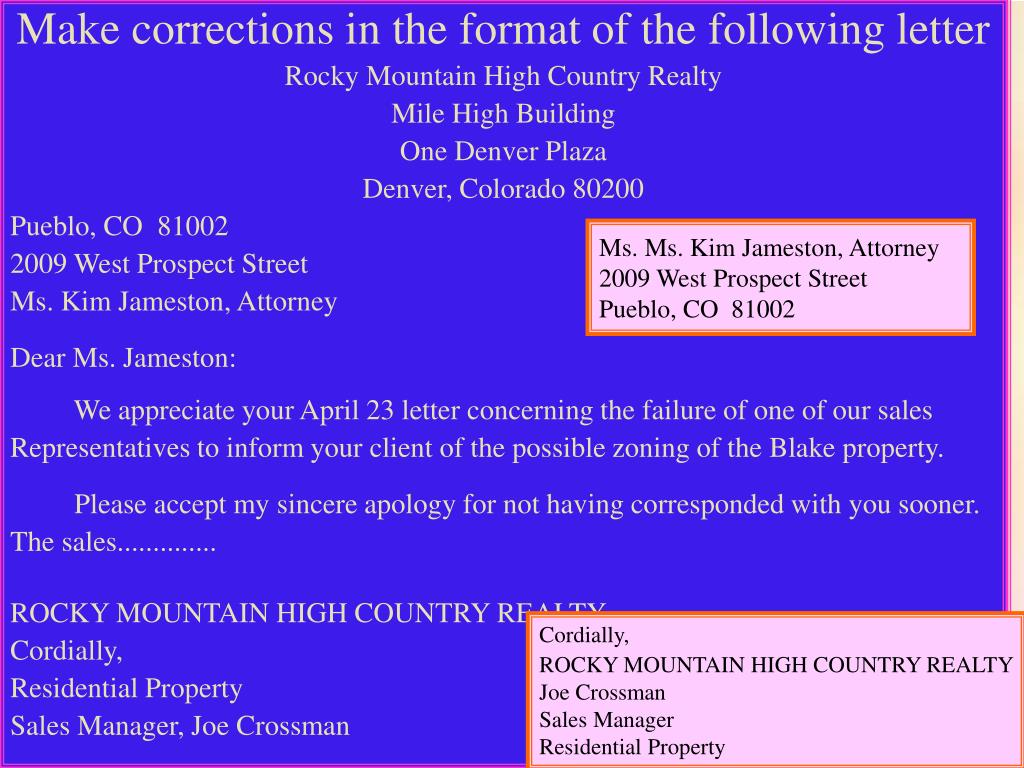 Make corrections in the format of the following letter