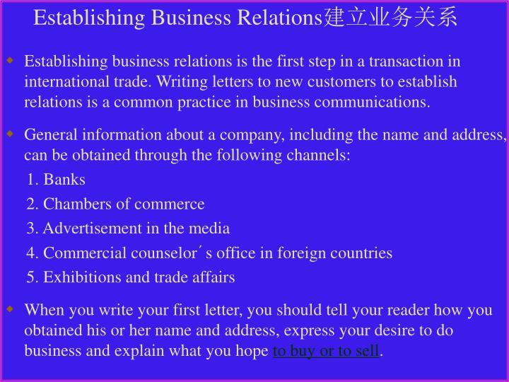 Establishing Business Relations