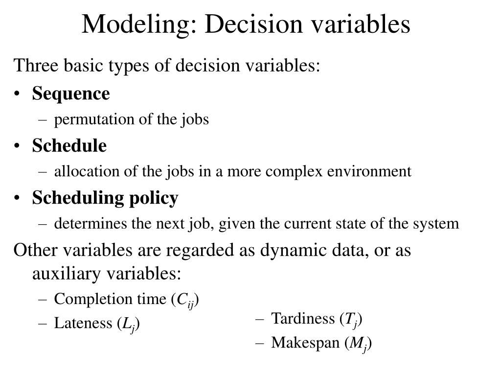 Modeling: Decision variables