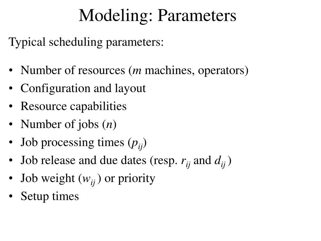 Modeling: Parameters