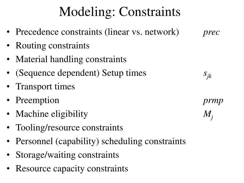 Modeling: Constraints