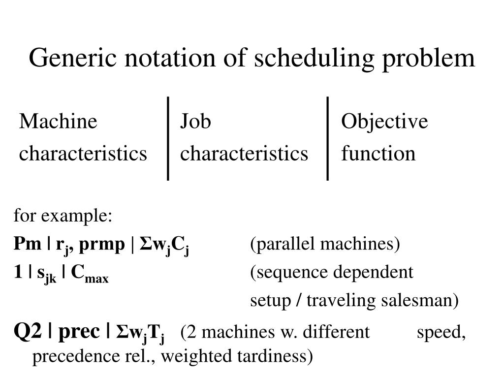 Generic notation of scheduling problem