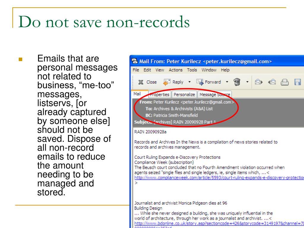 Do not save non-records