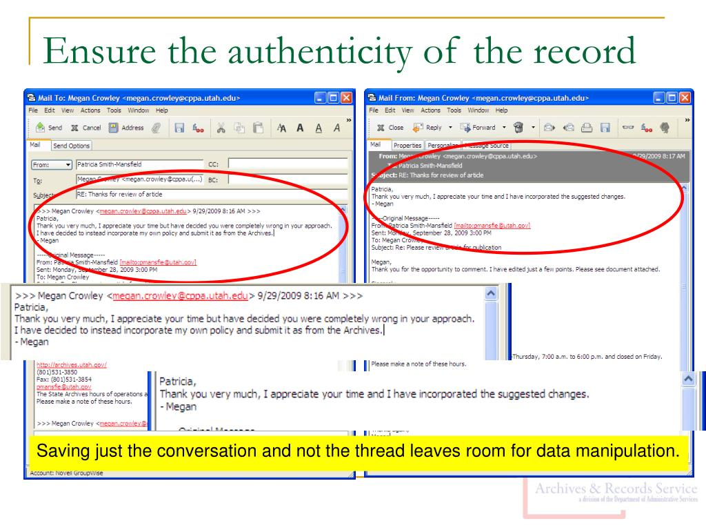 Ensure the authenticity of the record