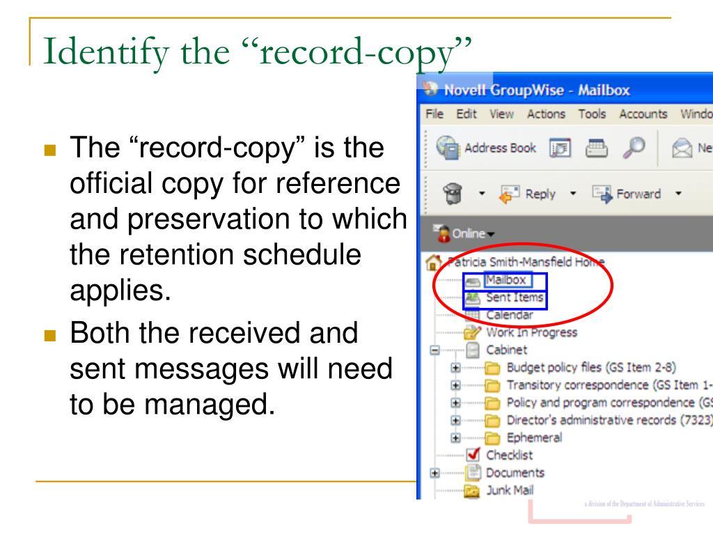"""Identify the """"record-copy"""""""