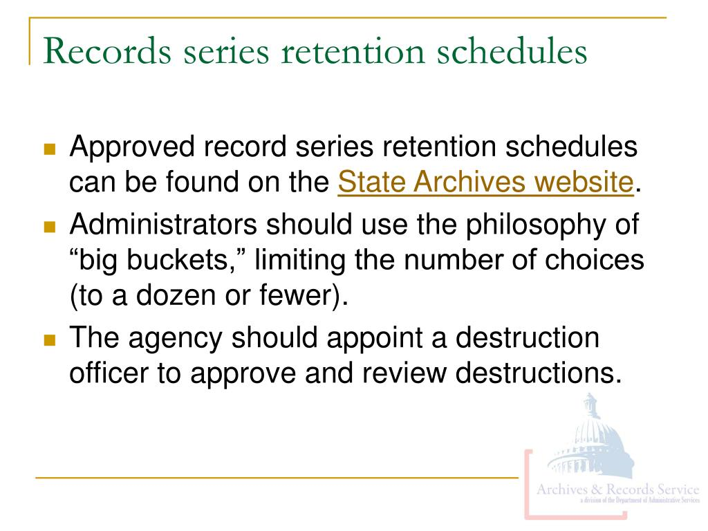 Records series retention schedules