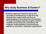 why study business at eastern