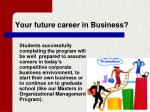 your future career in business
