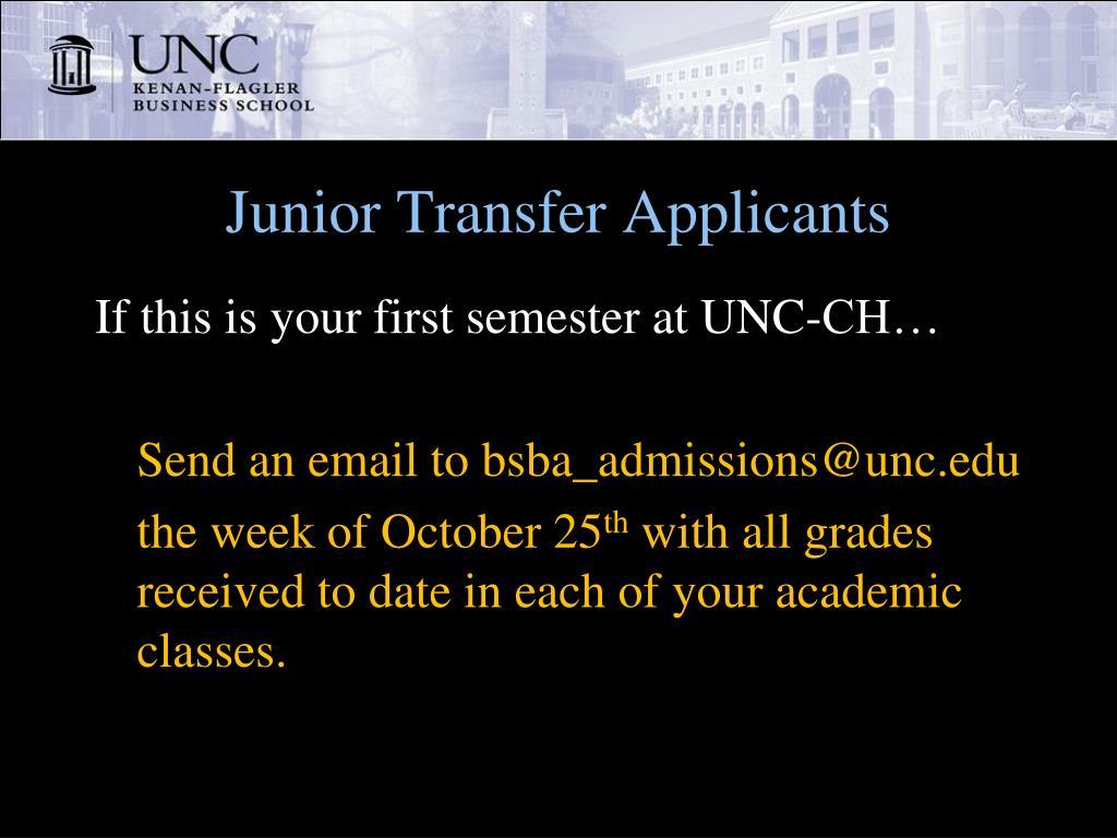 Junior Transfer Applicants