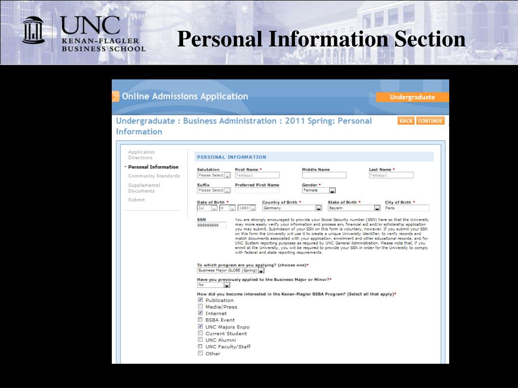 Personal Information Section