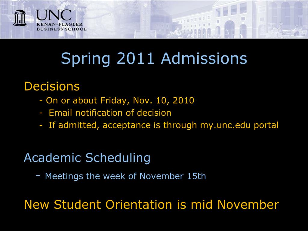 Spring 2011 Admissions