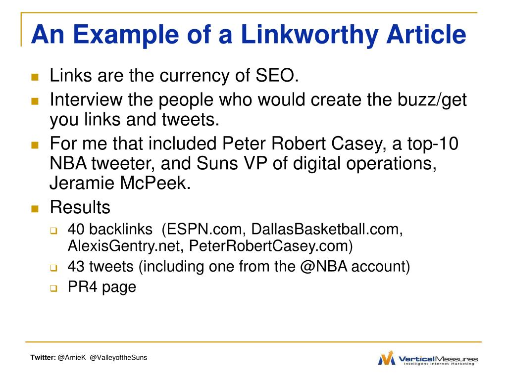An Example of a Linkworthy Article