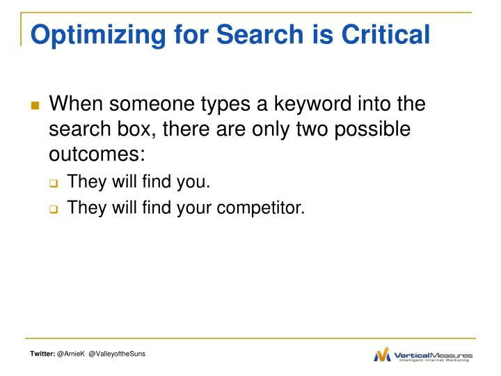 Optimizing for search is critical