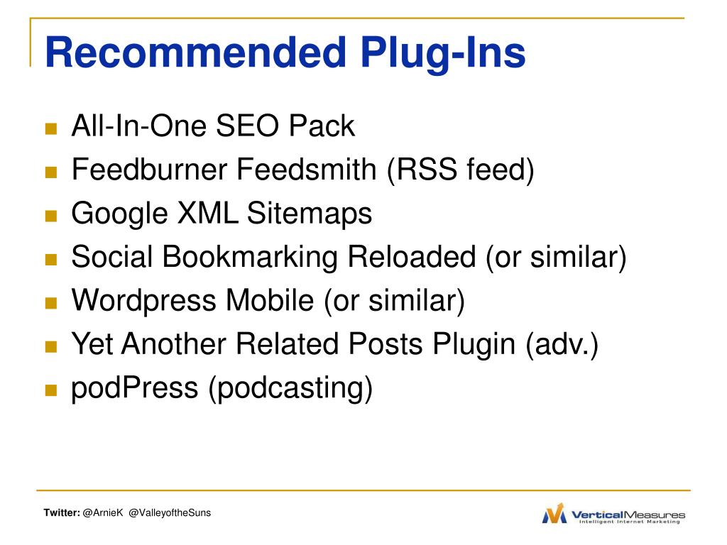 Recommended Plug-Ins