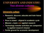 university and industry two diverse cultures33