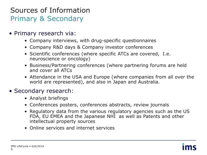 secondary sources of information Whenever possible, marketing researchers ought to use multiple sources of secondary data in this way, these different sources can be.