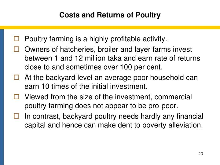 Costs and Returns of Poultry