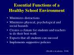 essential functions of a healthy school environment