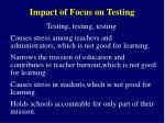 impact of focus on testing