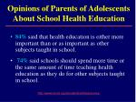 opinions of parents of adolescents about school health education