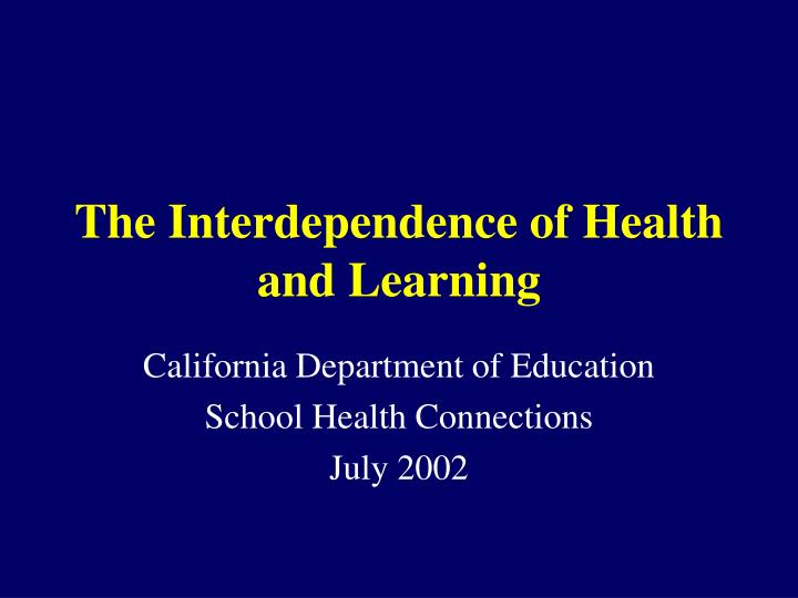 the interdependence of health and learning n.