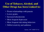 use of tobacco alcohol and other drugs has been linked to