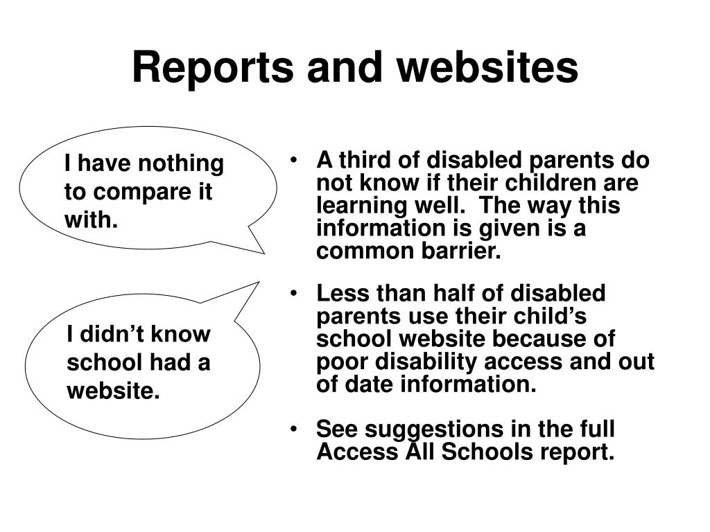Reports and websites