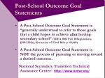 post school outcome goal statements