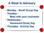 a week in advisory