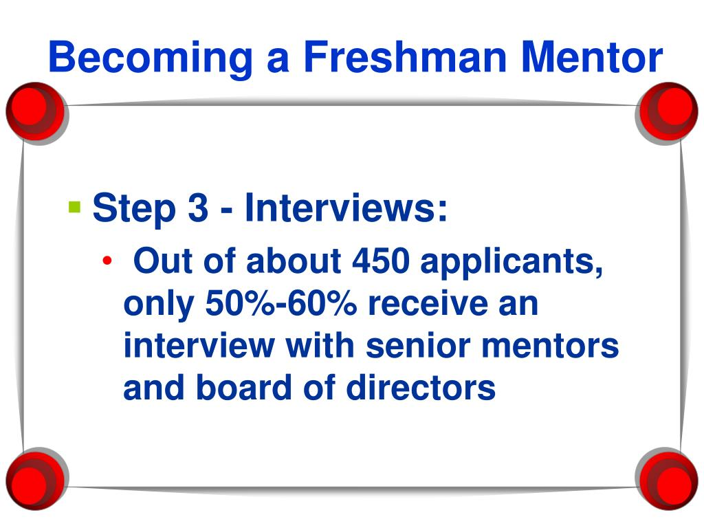 Becoming a Freshman Mentor
