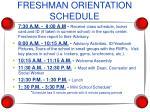freshman orientation schedule