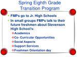 spring eighth grade transition program