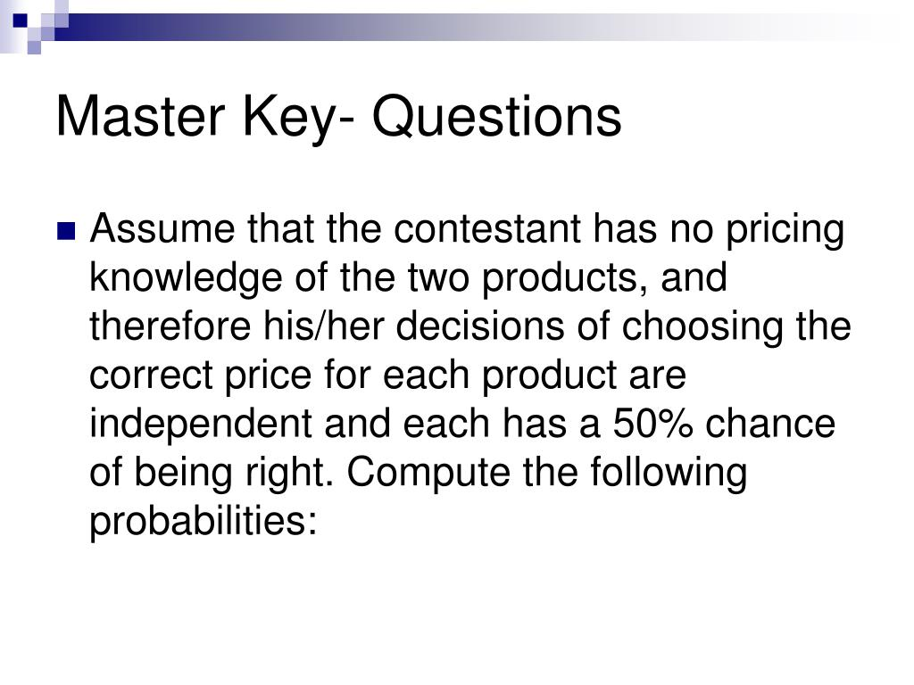 Master Key- Questions