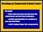 creating an connected school cont