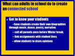 what can adults in school do to create an connected school