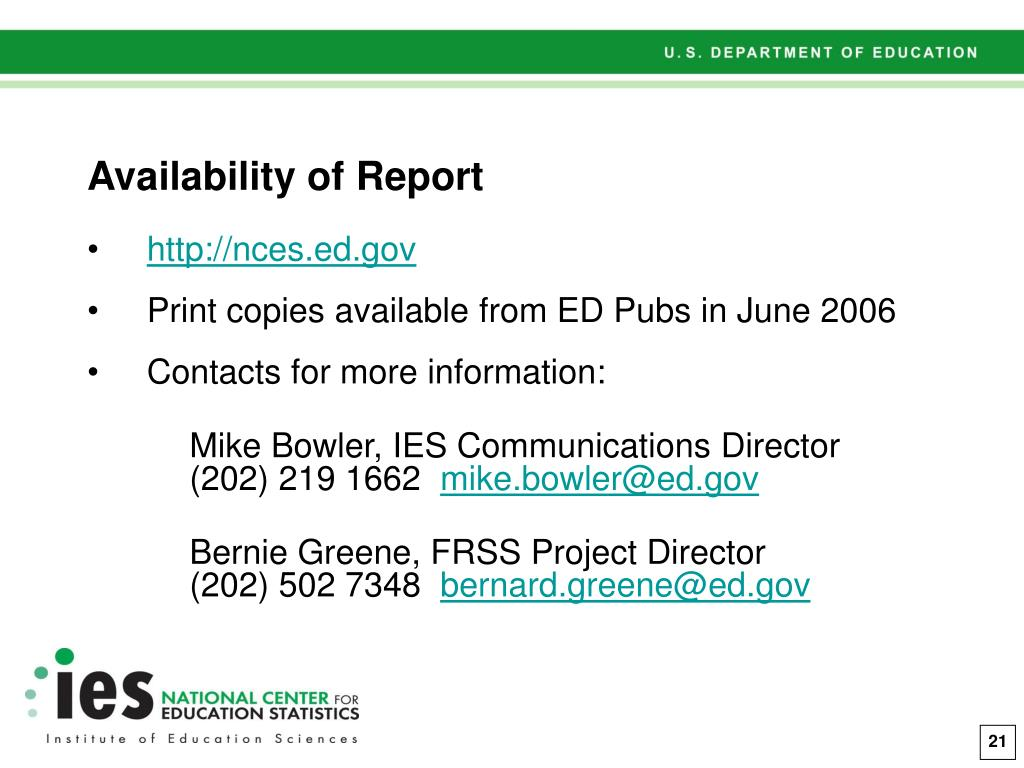 Availability of Report