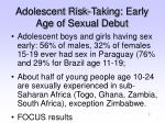 adolescent risk taking early age of sexual debut
