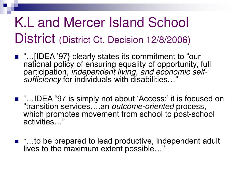 K.L and Mercer Island School District