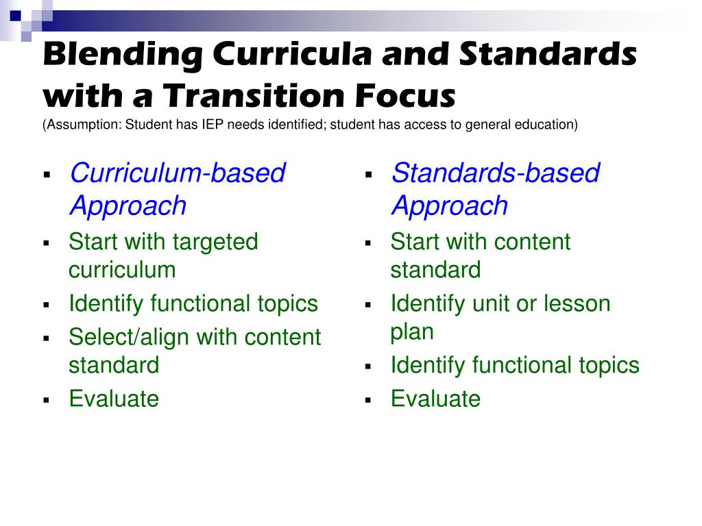 Blending Curricula and Standards with a Transition Focus