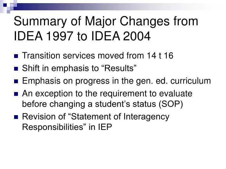 Summary of major changes from idea 1997 to idea 2004