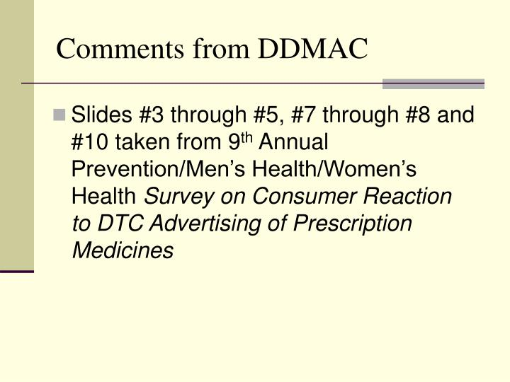 Comments from ddmac