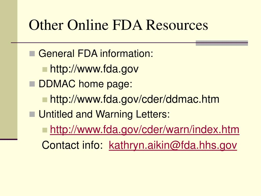 Other Online FDA Resources