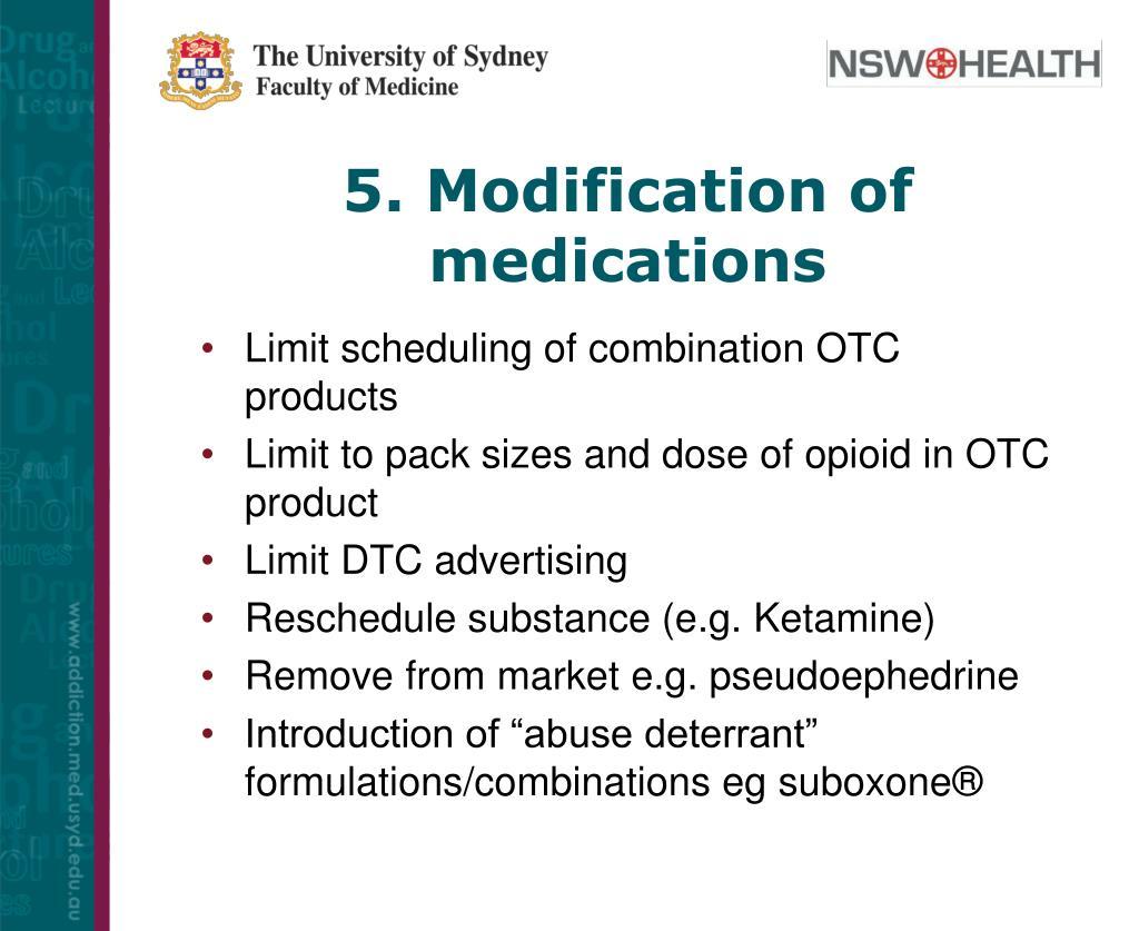 5. Modification of medications