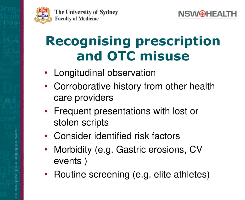 Recognising prescription and OTC misuse