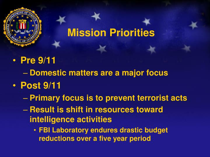 Mission Priorities