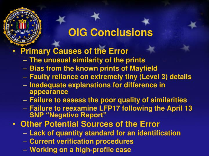 OIG Conclusions