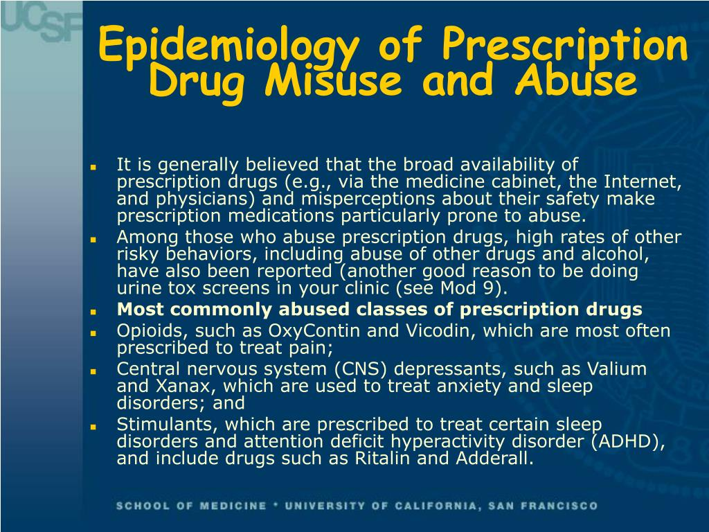 Epidemiology of Prescription Drug Misuse and Abuse