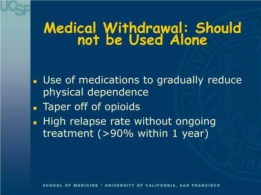 Medical Withdrawal: Should not be Used Alone