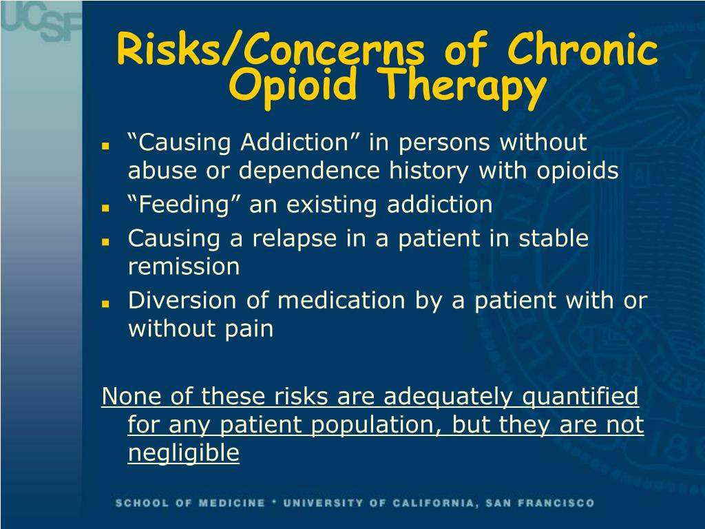 Risks/Concerns of Chronic Opioid Therapy