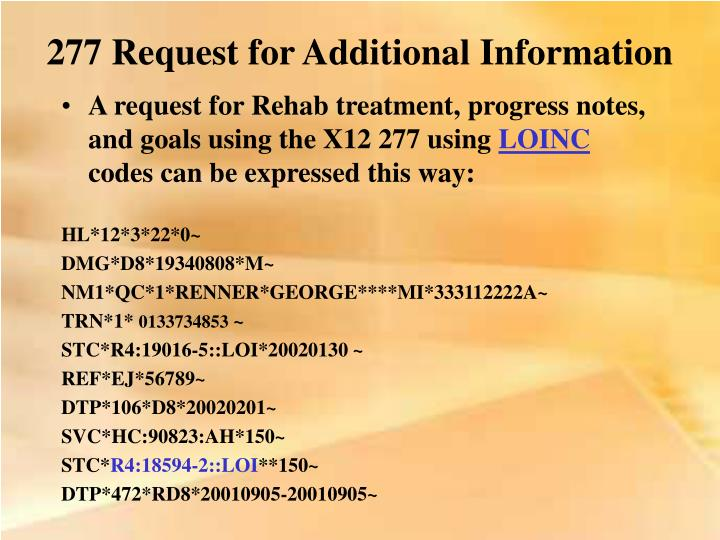 277 Request for Additional Information